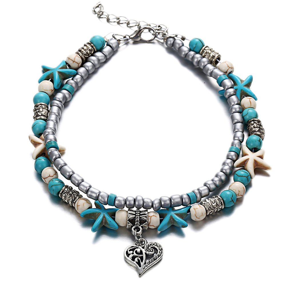 Tree of Life Boho Seed Beads Starfish Beach Elephant Love Heart Anklet Multi Layer Yoga Leg Bracelet Sandals Hippy Summer Charms Foot Chain Jewelry (Heart)
