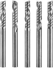 "5pcs Tungsten Carbide End Mill 3.175mm(1/8"") Shank Single Flute Milling Cutter CNC Rotary Burrs Set Bit"