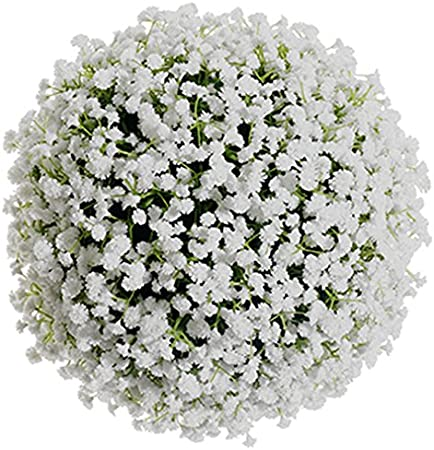10 Artificial Plastic Gypsophila Baby S Breath Kissing Flower Ball White Pack Of 2 Amazon Co Uk Kitchen Home