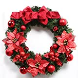 Christmas Garland for Stairs fireplaces Christmas Garland Decoration Xmas Festive Wreath Garland with Christmas wreath,60CM red