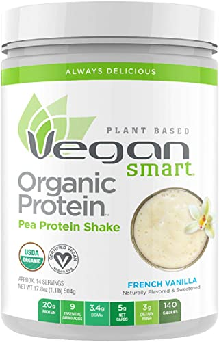 Vegansmart Plant Based Organic Pea Protein Powder by Naturade – French Vanilla 14 Servings