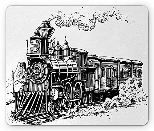 Steam Wagon (Steam Engine Mouse Pad by Ambesonne, Rustic Old Train in Country Locomotive Wooden Wagons Rail Road with Smoke, Standard Size Rectangle Non-Slip Rubber Mousepad, Black and White)