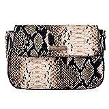 Orfila Women Faux Leather Tote Handbag Snakeskin Embossed Clutch Chain Shoulder Crossbody Bag
