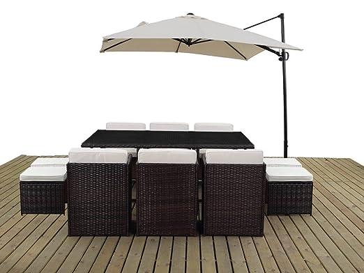 Green Viva-Set de mesa y sillas de jardín resina trenzada, diseño ...