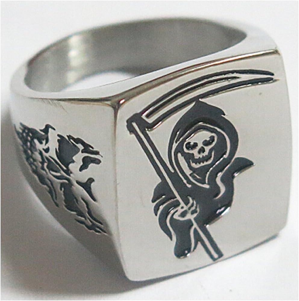 Grim Reaper Biker Ring Punk Men/'s Skull Gothic Biker 100/% Stainless Steel Ring
