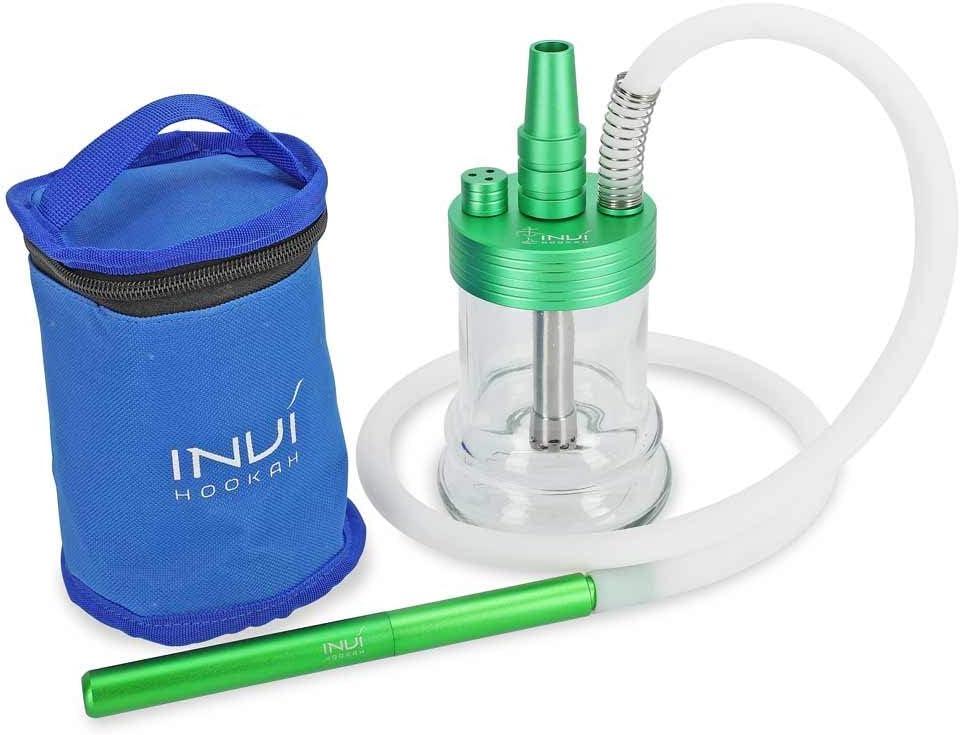 INVI Nano Aluminio | Cachimba de Viaje con bolsón | Kit Manguera Narguile Incluido (Verde metálico)