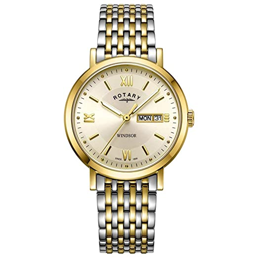 a534dd41bf31 Rotary Mens GB05301 09 Windsor Two Tone Bracelet Wristwatch  Amazon.co.uk   Watches