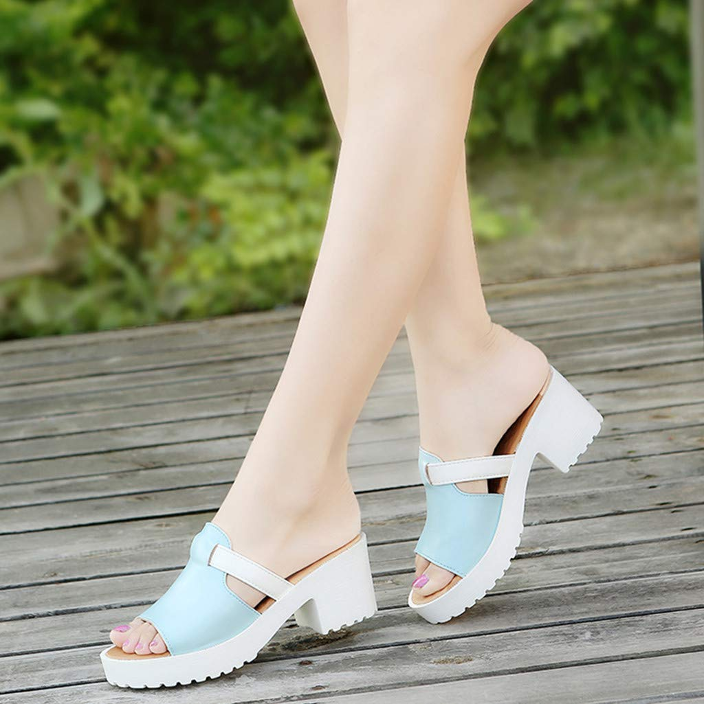 YEZIJIN Hot Sale Womens Fashion Casual Slip On Square Heel Thick Platform Shoes Outdoor Slippers Slippers for Women Indoor Outdoor 2019 New Clearance Under 10 Dollars