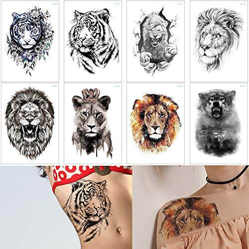 8 Sheets Tiger Lion Forest Design Temporary Tattoo Sticker Water Transfer Fake Tattoo (The Best Tiger Tattoo Designs)
