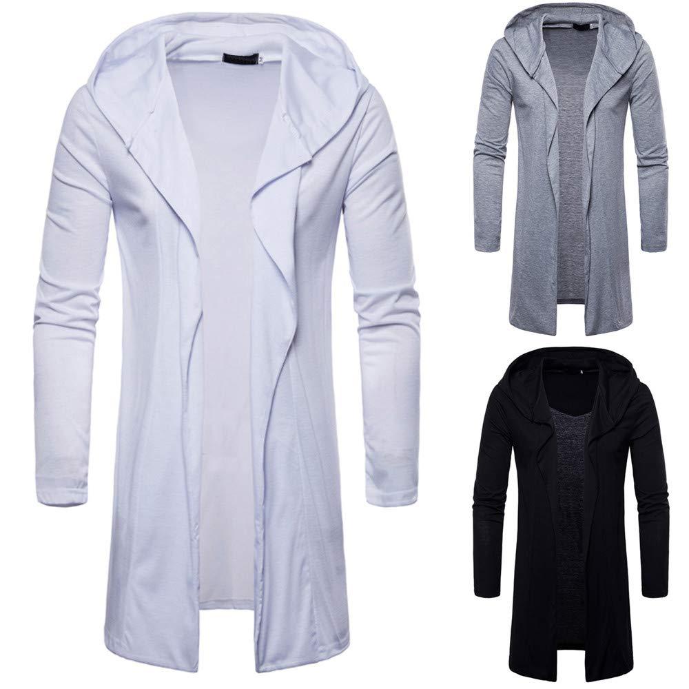 Moda para Hombre con Capucha sólido Trench Coat Jacket Cardigan Manga Larga Outwear Blusa por Internet: Amazon.es: Ropa y accesorios