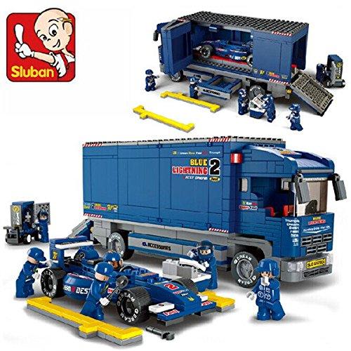 easyshop Sluban F1 Racing Derrick Cargo Truck Blocks Vehicle Cart Transporter