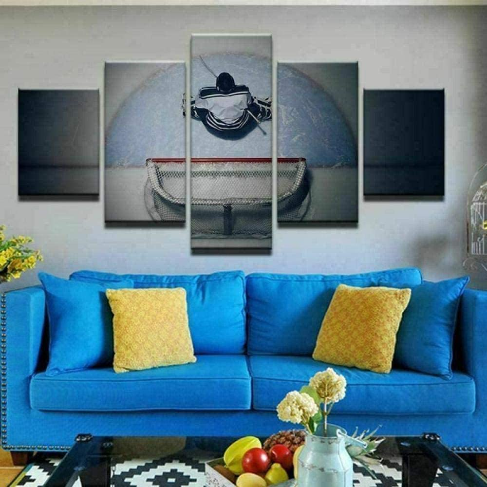 YDME 5 Piece Wall Art Painting Hockey Net Goalie Canvas Prints Stretched Framed Gallery Home Ready to Hang Bedroom Decor Modern Panels Artwork Living Room -150X80cm