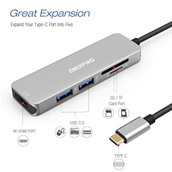 ZMUIPNG USB C Hub Adapter for MacBook Pro 2018 & 2019-2016,MacBook Air 2018-2019,Surface Go,5 in 1 Type C Dongle with 4K HDMI,2 USB 3.0 Ports,SD Micro ...