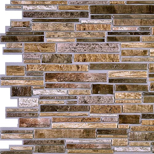 Brown Flagstone PVC 3D Wall Panels - Interior Design Wall Paneling Decor Commercial and Residential Application, Stone Brick, 3.2' x 1.6' (Tile Faux Stone)