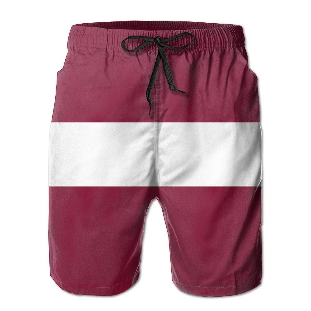 Latvia Flag Beach Shorts For Men