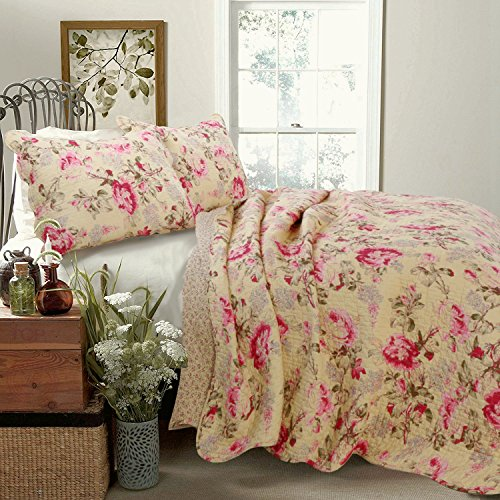 Cozy Line Home Fashions Lelia Vivid Quilt Bedding Set, Pink Rose Blooming County Floral Flower Printed 100% Cotton Reversible Coverlet Bedspread for Women (Rose Vivid, Queen - 3 Piece) (Bedspreads With Roses)