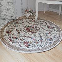 Ustide Country Style Soft Cotton Rugs Washable Rose Design Throw Rugs Round Floral Floor Rugs Tea Table Coffee Carpet Rustic Floral Bedroom Area Rugs 3.9 Feet