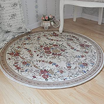 ustide country style soft cotton rugs washable rose design throw rugs round floral floor rugs tea