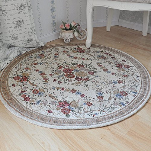 Ustide Country Style Soft Cotton Rugs Washable Rose Design Throw Rugs Round Floral Floor Rugs Tea Table Coffee Carpet Rustic Floral Bedroom Area Rugs 3.9 Feet Review