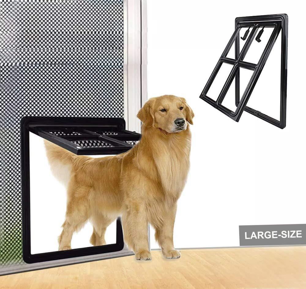 SUCCESS Dog Door for Sliding Screen Door, Magnetic Automatic Lock Pet Screen Door Dog for Dogs Puppies Cats,Black, Large, 17.91'' x 13.78''.