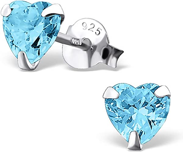 Boxed Childrens 925 Sterling Silver Square Stud Earrings With Aqua Gemstones