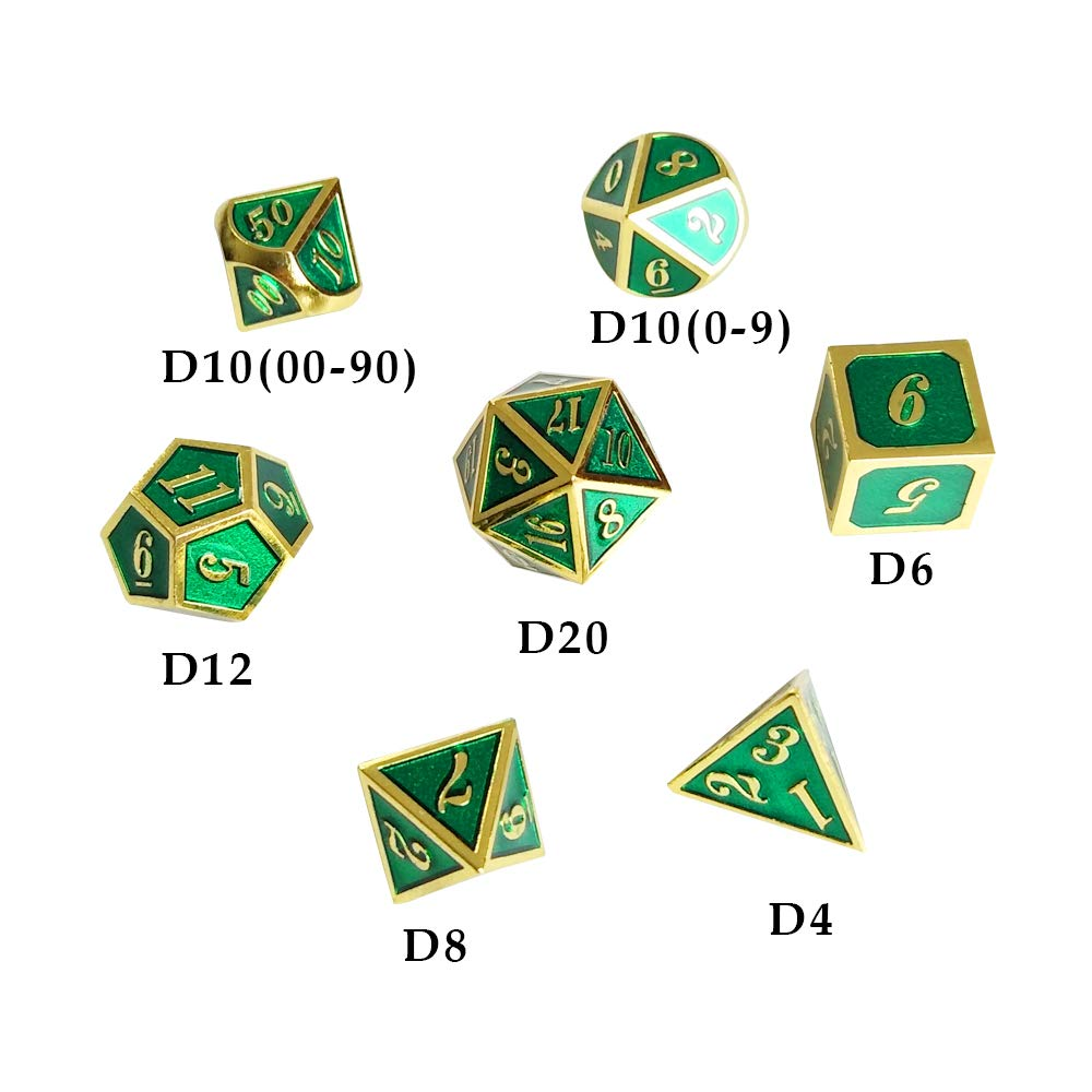 Yh Poker 7pcs Metal Dice Set D D Dice D20 D12 D10 D8 D6 D4 For Dungeons And Dragons Dnd Rpg Mtg Table Games Glossy Enamel Dice Dack Blue With Gold Number Games Accessories