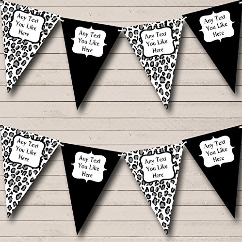 Black White Animal Print Personalized Birthday Party Bunting Banner Garland by The Card Zoo