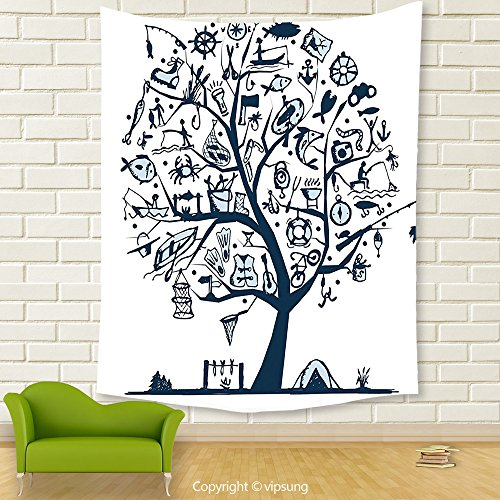 Vipsung House Decor Tapestry_Fishing Decor By Cute Tree Of Life With Marine Objects Anchor Wind Rose Compass Reel Nature Light Blue_Wall Hanging For Bedroom Living Room Dorm (Reel Fantasy Halloween)