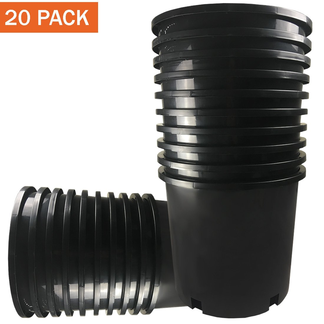 CaliPots 20-Pack 5 Gallon Premium Black Plastic Nursery Plant Container Garden Planter Pots (5 Gallon)