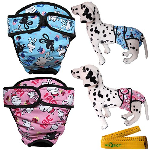 Wiz BBQT Washable Adjustable Reusable Dog Pet Diapers Cover Up Sanitary Panties with Velcro Closure for Female Girl Dogs, 2 Pack (Extra Large, Blue and Pink) ()