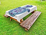 Ambesonne Hamsa Outdoor Tablecloth, Eastern Culture Belief Turkish Spiritual Symbol in Retro Arabian Style, Decorative Washable Picnic Table Cloth, 58 X 120 inches, Blue Pale Blue Purple