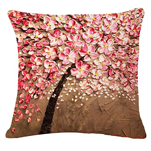 Monkeysell Oil Painting Black Large Tree and Flower Birds Cotton Linen Throw Pillow Case Cushion Cover Home Sofa Decorative 18 X 18 Inch (S118A6)