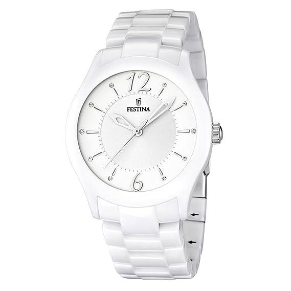 FESTINA F16638/1 - Reloj analógico de cuarzo unisex con correa de cerámica, color blanco: Amazon.es: Relojes