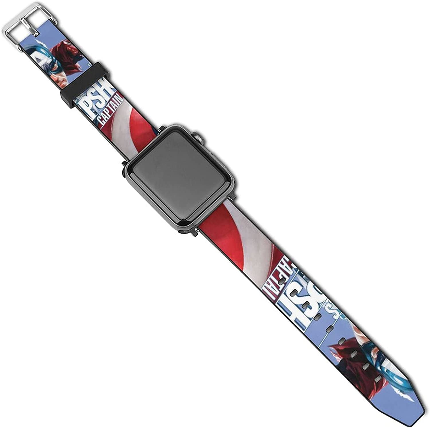 Captain America Marvels Apple Watch Band 44mm 42mm 40mm 38mm Leather Compatible iWatch Strap Compatible Apple Watch 5 4 3 2 1