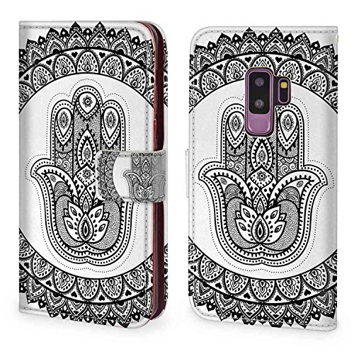mophinda Wallet Case Fit for Galaxy S9 Plus 6.2 Version Ethnic,Ancient Eastern Oriental Henna Hand and Mehndi Arabesque Tattoo Work of Art Print,Black White Keather