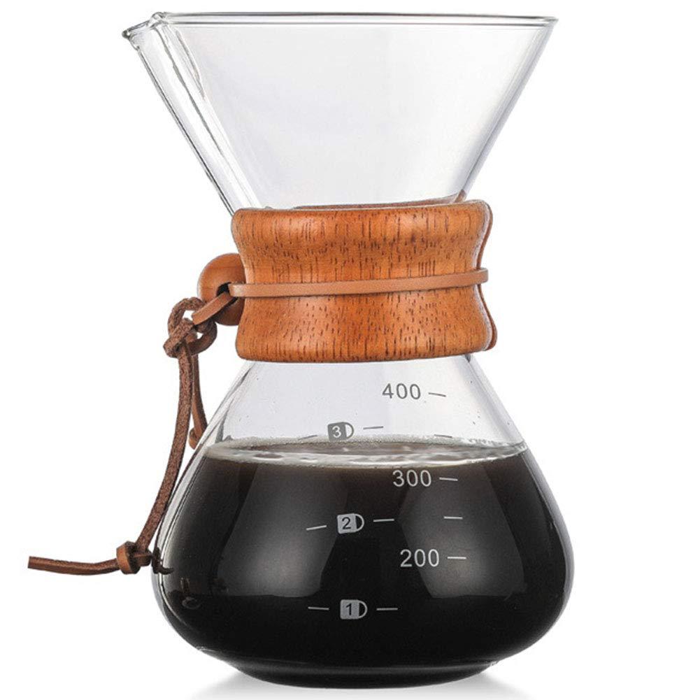 Acquisto SYY-IT Bicchiere Alto borosilicato Lavato a Mano Doppio Filtro Filtro caffè pentola Alta Temperatura Salute Pratico caffettiera 400 ml Semplice caffettiera in Vetro,A Prezzi offerta
