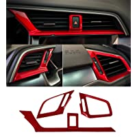 Red Dashboard Air Vent Outlet Cover Trim Interior Frame Panel Sticker For Honda 10th Gen Civic 2016 2017 2018 2019 2020
