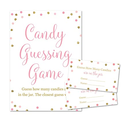 931d182e04f4c Amazon.com  Baby Shower Candy Guessing Game, How Many Candies, Faux ...