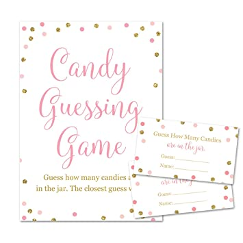 Baby Shower Candy Guessing Game How Many Can S Faux Gold Glitter And Pink Dots