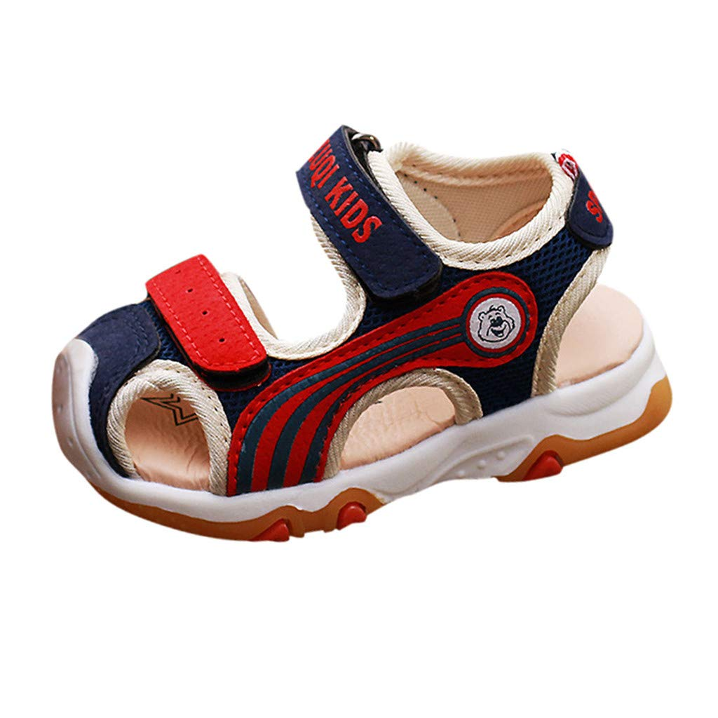 Boys Girls Toddler Infant Kids Baby Closed Toe Beach Shoes Sandals Soft Sole Prewalker Safe Sneakers (Blue, US:7)