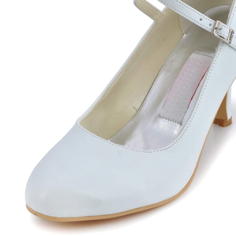 Qiusa MZ615 Damen Round Toe Toe Toe High Heel Mary Jane Weiß Braut Hochzeit Satin Schnalle Pump Schuhe UK 7 (Farbe   - Größe   -) 5a556e
