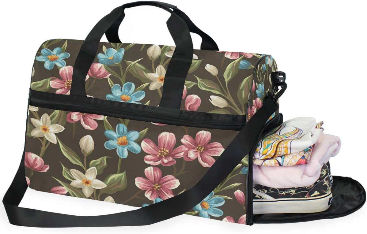 MUOOUM Spring Flower Colorful Large Duffle Bags Sports Gym Bag with Shoes Compartment for Men and Women