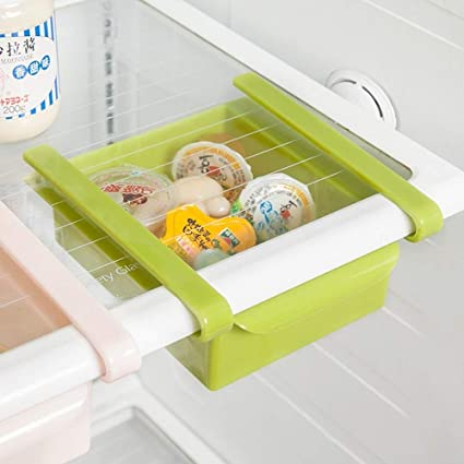 Kitchen Plastic Refrigerator Space Saver Organizer Slide Shelf Rack Storage/_ZQ