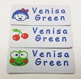 Custom Woven Name Tapes Pre-cut Iron or Sew-on Labels Woven Tags for School / Camp / Care Home Each Set 3 Motifs (42pcs/Set, for girl (little girl, frog,cherry), white background)