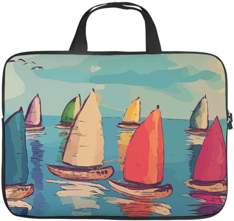 Ocean Sailboat Laptop Sleeve Personalized Prints Notebook Storage Bag Anti-Scratch Neoprene Laptop Protective Bag for Boyfriend Girlfriend White 17inch