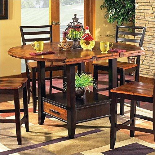 Steve Silver Abaco Drop Leaf Counter Height Storage Dining Table in Acacia Finish Drop Leaf Counter Height Table