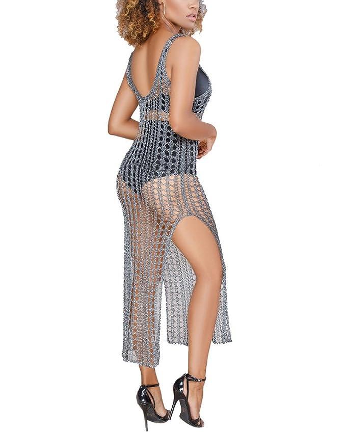 5ac0dfa7f7 Metup Women Gold Metallic V-Neck Sleeveless Knit Destroyed Beach Cover Up  Dress Swimwear at Amazon Women's Clothing store: