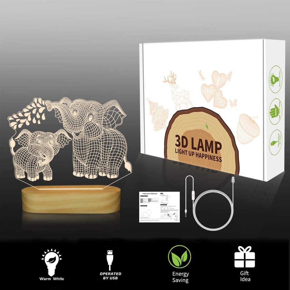 LED Illusion Night Light USB Warm Colors Wooden Lamp Base for Kids ...