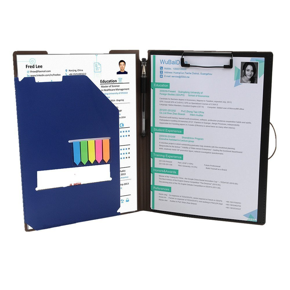 Clipboard Folder File Padfolio Clipboard Storage, Kakbpe Bussiness Letter Size Padfolio with Refillable Notepads, Give a Total of 100 Note Page Markers in Five Colors