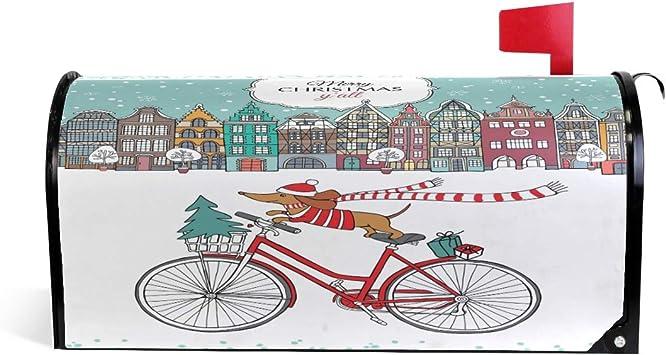 Buzón magnético de Navidad para Perros con diseño de Perro Salchicha en Bicicleta, para Invierno, Nieve, año, buzón, Caja de Correo, jardín, Patio, decoración del hogar, para Exterior tamaño estándar: Amazon.es: Jardín